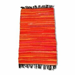 Cotton Chindi Orange Tonal Rug Mat 50 x 80 cm
