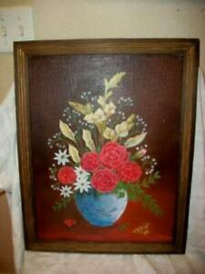 VINTAGE ROSES LILIES OIL PAINTING FRENCH FARMHOUSE STYLE RUSTIC WOOD FRAME