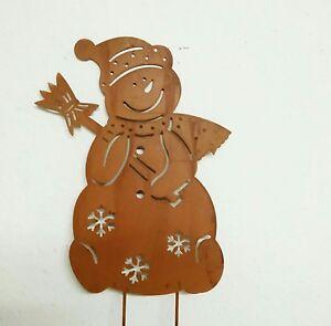 Patina Snowman Metal Braun Flowerbed Garden Plug Christmas Cottage 32
