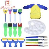 18pcs Kids Painting Brushes Sponges Apron Paint Brush Set Children Toddler US
