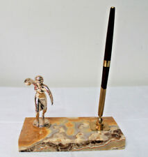 Vtg 1960s womens League Bowling Trophy / pen holder marble