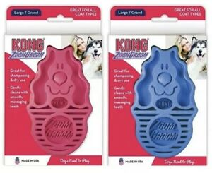 KONG Dog ZoomGroom Large Grooming Brush Pink Blue Puppy Zoom Groom Massage Comb