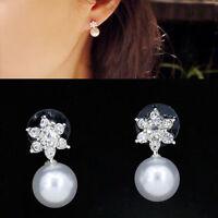 1 Pair Fashion Women Elegant Crystal Rhinestone Pearl Ear Studs Earrings Jewelry
