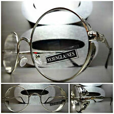 VINTAGE RETRO BLINDER Style Clear Lens EYE GLASSES Round Silver Fashion Frame
