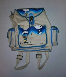 1965 Vintage LEATHER Skydiving SNOOPY WOODSTOCK Peanuts Comic SMALL Backpack BAG