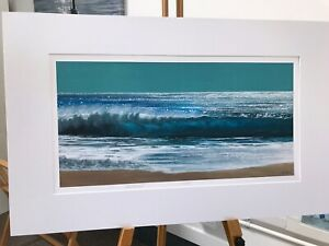 'Enchanted' 80x50cm crashing waves beach turquoise seascape by Julia Pankhurst