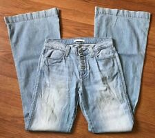 7 FOR ALL MANKIND JEANS BIANCHA WIDE LEG FLARE BUTTON FLY DENIM 25 X 34 - 26X34