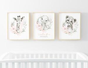 Animal Jungle Children's Trio Set of 3 Name Picture Nursery Print Gift UNFRAMED