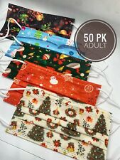 50 PACK ADULT Christmas Holiday Face Masks Lot  Festive Mixed Patterns