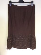 LAURA ASHLEY BROWN WOOL BLEND EMBROIDERED CALF LENGTH SKIRT SIZE 12