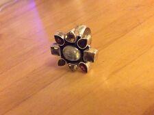 multi coloured oval Cut Stone Silver Ring Moonstone Garnet Citrine Amethyst