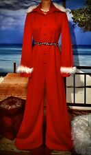 New listing Mod Vintage Bling Jumpsuit Fur Feather Christmas Boho Bell Bottom Hippie M 12
