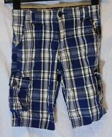 Boys George Blue White Check Adjustable Waist Cargo Board Shorts Age 7-8 Years