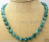 100% Natural 10mm Genuine Round white&green Emerald Gemstone Beads Necklace 18''