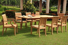 "Lagos A-Grade Teak 9pc Dining 94"" Rectangle Table 8 Chairs Set Outdoor Patio"
