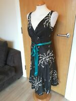 Ladies MONSOON Dress Size 12 Black Ivory Fit And Flare Party Evening Wedding
