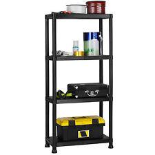 VonHaus 4 Tier Plastic Garage Shelving Racking Storage Black