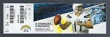 2010 NFL NEW ENGLAND PATRIOTS @ SAN DIEGO CHARGERS FULL UNUSED FOOTBALL TICKET