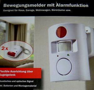Bewegungsmelder mit Alarmfunktion Optisch Akustischer Alarm Fernbedienung NEU !!