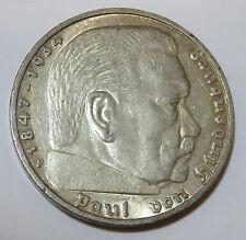 DR DEUTSCHES REICH 5 MARK REICHSMARK 1936 F HINDENBURG JAEGER J. 360 SILBER