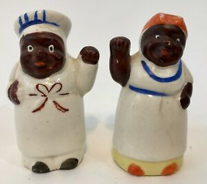 AFRICAN AMERICAN CHEF AND COOK SALT & PEPPER SHAKERS - JAPAN SET (SET 2)