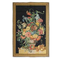 "Black Summer's Bounty Art Wall Hanging Vintage Tapestry 39""x57"""