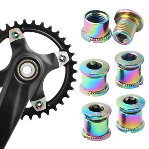 5x Bicycle Chainring Bolt Nuts Steel Chainwheel Screws Nut Parts Accessories