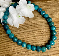 13.8g LOVELY BLUE/GREEN APATITE CRYSTAL BEAD HEALING BRACELET  Reiki  NORWAY