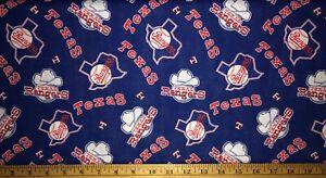 NEW MLB COTTON Fabric 1/4 yard=9 inX44in TEXAS RANGERS BLUE HAT LOGO TX DIY MASK