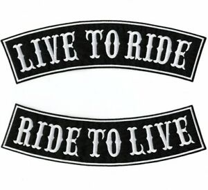"""LIVE TO RIDE Rocker Patches   """"Ride To Live""""   Embroidered Iron On   Large 12"""""""