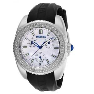 Invicta Angel 28487 Women's Mother of Pearl Black Silicone Band Crystals Watch