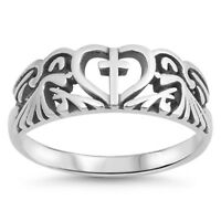 .925 Sterling Silver Cross Heart Love Religious Promise Ring Size 5-9 NEW