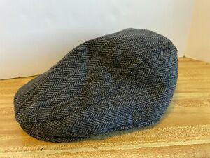 NEW STEWART OF SCOTLAND NEWSBOY CAP HAT HERRINGBONE CHEVRON PRINT WOOL SIZE S/M