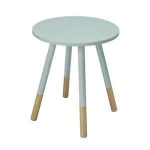 """Costa Painted Round Side Lamp Small Table Wood In Blue """"Brand New Boxed""""."""