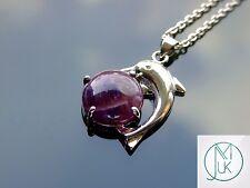 Amethyst Dolphin Natural Gemstone Pendant Necklace 50cm Healing Stone Chakra