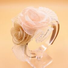 Flower Girl Headband Fascinator Wedding Hair Accessory Pink Beige Peach Floral