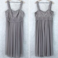 R&M Richards Floral Lace Chiffon Gown Dress Brown Formal Sleeveless Womens 16W