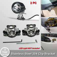 2pc A Pillar Hood Led Work Light Bar Base Mount Bracket Lamp Stainless Steel 304