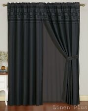 New Black Flocked Curtain Panel Window Covering Drapes