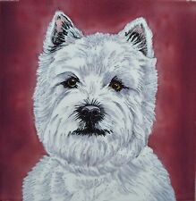 Westie Ceramic Picture Tile Hand Painted Wall Plaque Art Dog Lovers Gift