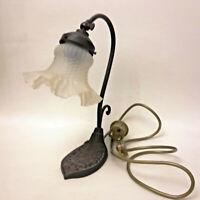 tolle Tischlampe Schreibtischlampe Komode Lampenschirm Jugendstil Metallfuß