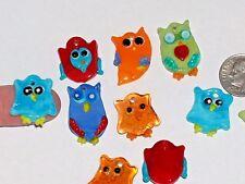 3pc. Miniature Little Glass OWL Lampwork pendant animal bird charm beads dangle