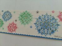 Mid Century Vtg GLITTER Silvered SNOWFLAKES PINK Pastels CHRISTMAS GREETING CARD