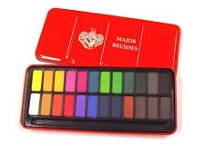 Set of 24 Colours Major Brushes Watercolour Block Tin Lid