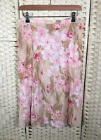 M&S Coral Mix Flared Floral Calf-Length (Long) Summer Skirt 12/14 Holiday Party