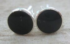 REAL 925 sterling silver 6- 8 -10 mm FLAT Round BLACK ONYX Studs Earrings UNISEX
