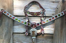 Rainbow Dazzle Rhinestone Bling Western Tack Set. Headstall & Breast Collar