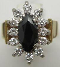 18CT YELLOW&WHITE GOLD DIAMOND & BLACK SPINEL ENGAGEMENT/DRESS RING–VALUED $3798
