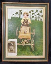 Vintage Painted Original Oil Painting Art Picture Boy Postcard 15X19 Signed