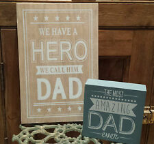 Dad Sign Present Gift Father's Day Wooden Hero Gisela Graham Retro Wood Fathers